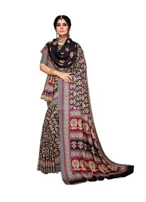 Black printed pashmina saree with blouse