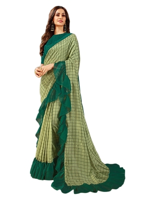 Dark green printed art silk saree with blouse