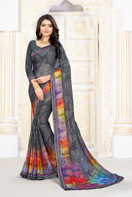 Dark grey printed art silk saree with blouse