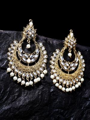 Handcrafted Kundan Pearl Oxidised Gold Plated Crescent Shape Rajwada Brass Chandbalis