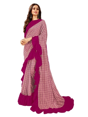 Dark pink printed art silk saree with blouse