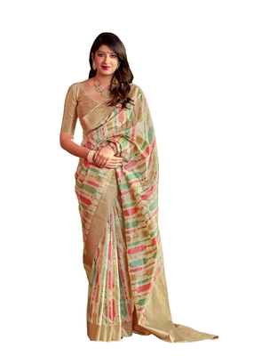 Golden woven art silk saree with blouse