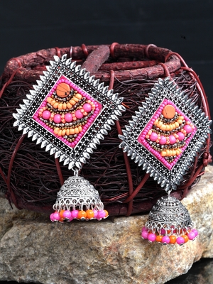 Handcrafted Pink Beads Square Shape Oxidised Silver Plated Brass Afghan Jhumkas