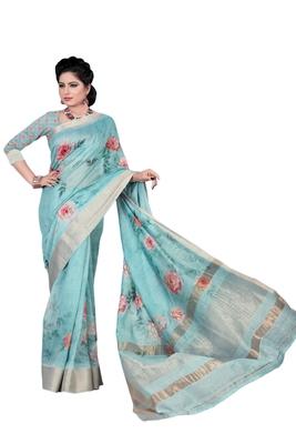 Light blue printed jacquard saree with blouse