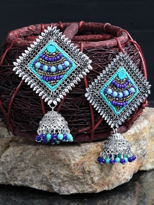Handcrafted Blue Beads Square Shape Oxidised Silver Plated Brass Afghan Jhumkas