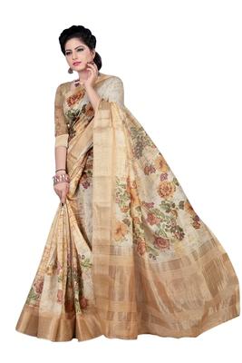 Light brown printed jacquard saree with blouse