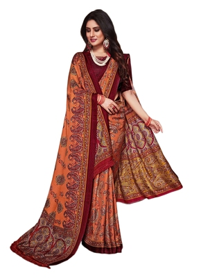 Maroon printed pashmina saree with blouse