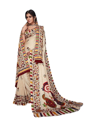 Multicolor printed pashmina saree with blouse