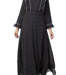 Dual Layer Maxi Dress With Georgette Polka Dots With Shantoon Lining