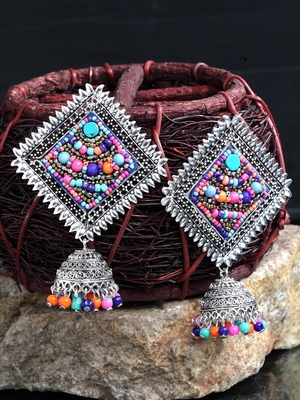 Handcrafted Multi Beads Square Shape Oxidised Silver Plated Brass Afghan Jhumkas