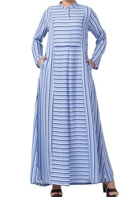Striped Dress For Muslim Women Made Of Moss Fabric