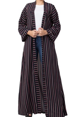 Long Abaya Like Dress in Stripes With Pockets and Belt Made of Moss Fabric