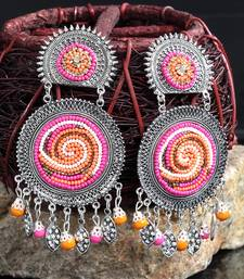 Handcrafted Hanging Pattern Pink Beads Afghan Design Silver Plated Brass Chandbalis