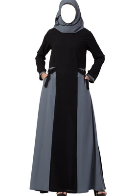 Dual Color Abaya Like Dress with Pockets and Buckled Belts Made in Nida Matte fabric