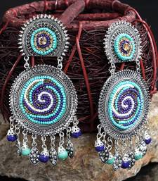 Handcrafted Hanging Pattern Blue Beads Afghan Design Silver Plated Brass Chandbalis