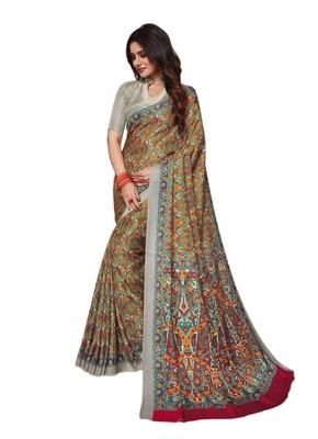 beige printed pashmina saree with blouse