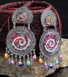 Handcrafted Hanging Pattern Multi Beads Afghan Design Silver Plated Brass Chandbalis