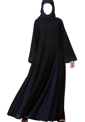 Flared Bottom Abaya Dress In Dual Color Made In Nida Matte Fabric
