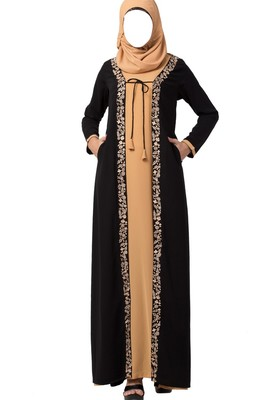 Two Piece Set Of Abaya And Embroidered Cardigan  Made In Nida Matte Fabric