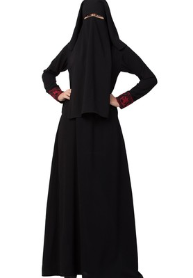 Black Abaya With Embroidery On Sleeves and Front Made in Nida Matte fabric
