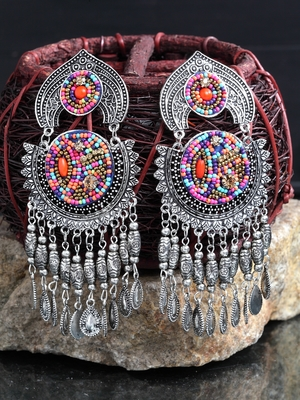 Handcrafted Hanging Pattern Multi Beads Royal Design Oxidised Silver Plated Brass Chandbalis