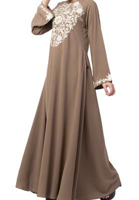 Beautiful Umbrella Flare Abaya Dress With Matching Embroidery Work