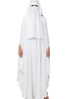 White Irani Kaftan and Naqaab Combo Made in Nida Matte fabric