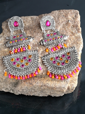 Handcrafted Pink Orange Beads and Stones Oxidised Silver Plated Brass Chandbalis