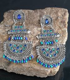 Handcrafted Blue Beads and Stones Oxidised Silver Plated Brass Chandbalis