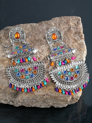 Handcrafted Multi Beads and Stones Oxidised Silver Plated Brass Chandbalis