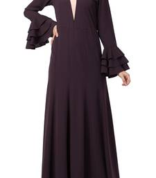 Slim Fit Dress With Multi Layered Bell Sleeves Made In Nida Matte Fabric
