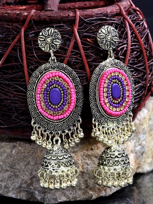 Handcrafted Pink Blue Beads Afghan Design Oxidised Gold Plated Brass Hanging Jhumkas