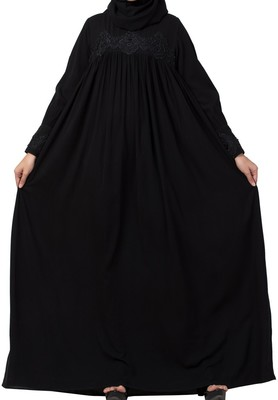 Lose Fit Abaya Like Dress With  Pearl Lace Work Made In Nida Matte Fabric