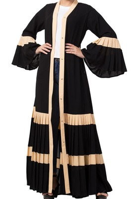 Gorgeous Front Open Abaya Like Dress in Dual Color with Pleated Bottom and Bell Sleeves Made in Nida Matte fabric