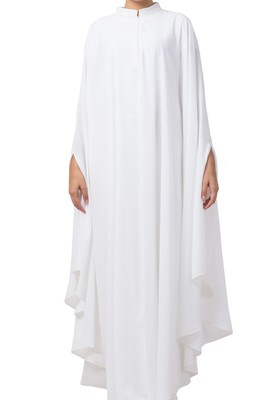 White Plain Irani Kaftan In Nida Matte Fabric Made In Nida Matte Fabric