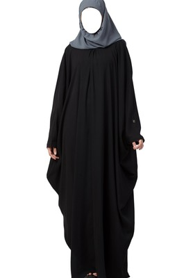 Simple Yet Elegant Islamic Kaftan Abaya With Pleats On Neck Made In Nida Matte Fabric