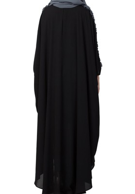 Modern Kaftan with Open Side Slits and Ruffles on Sleeves Made in Nida Matte fabric