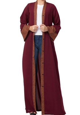 Front Open Abaya Dress With Contrast Panel and Sleeves Made in Nida Matte and Crepe fabrics