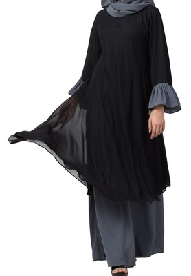 Dual layer Modest Abaya Dress With Bell Sleeves Made in Nida Matte and Fine Georgette Fabrics
