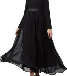 Abaya Length Dress For Muslim Woman In Dual Layer Made In Nida Matte And Fine Georgette Fabrics