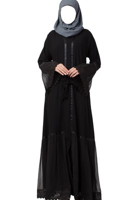 Front Open Abaya Dress With Lace Work And Layers Of Georgette