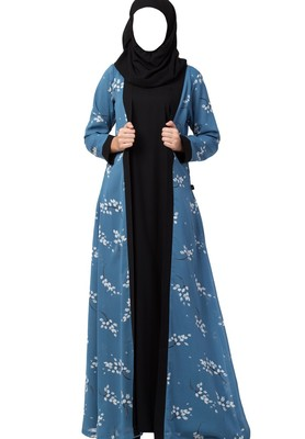 Dual Layer Abaya Dress With Printed Shrug Attached