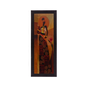 Tribal Woman With Vase Satin Matt Texture UV Art Painting