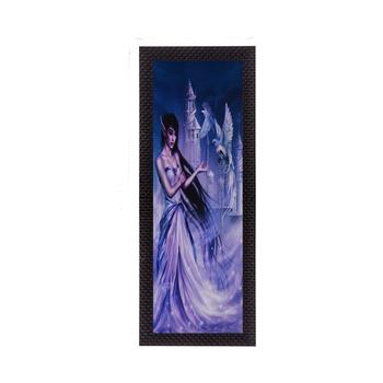 Purple Lady With Bird Satin Matt Texture UV Art Painting