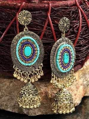 Handcrafted Turquoise Blue Afghan Design Oxidised Gold Plated Brass Hanging Jhumkas