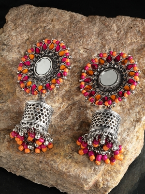 Handcrafted Mirror Pink Orange Beads Stones Oxidised Silver Plated Floral Brass Afghan Jhumkas