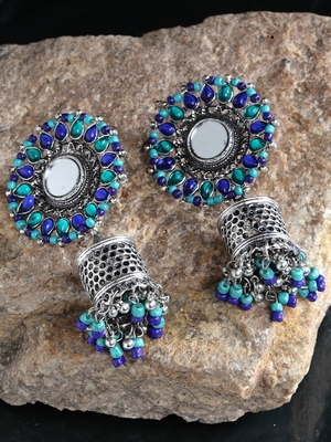 Handcrafted Mirror Blue Beads Stones Oxidised Silver Plated Floral Brass Afghan Jhumkas