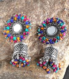 Handcrafted Mirror Multi Beads Stones Oxidised Silver Plated Floral Brass Afghan Jhumkas