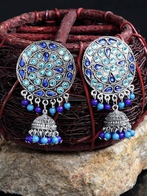 Handcrafted Turquoise Blue Beads Stones Rajwada Design Oxidised Silver Plated Brass Afghan Jhumkas