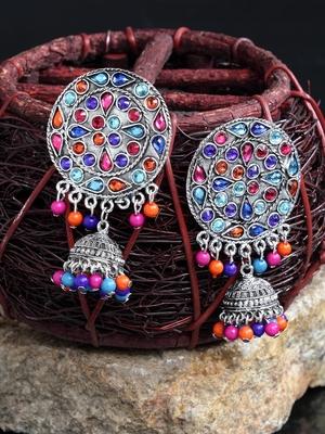 Handcrafted Multi Beads Stones Rajwada Design Oxidised Silver Plated Brass Afghan Jhumkas